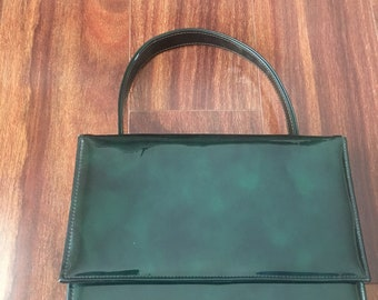 Vintage Green Patent Leather Box Purse