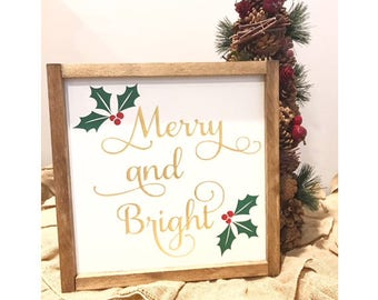 "Merry and Bright- gold sign-holiday decor- christmas decor- farmhouse christmas -fixer upper--holiday sign- mantle sign 13"" x 13"""