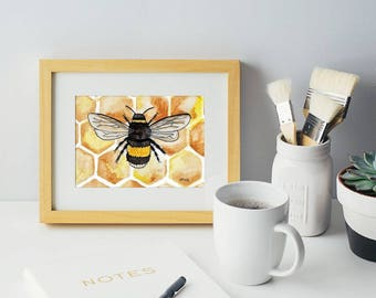 Honeycomb Bee, home decor, print, 5x7, watercolor