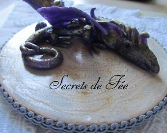 DRAGON ON WOOD WITH POLYMER CLAY BASE PURPLE AND GOLD