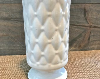 A Vintage White Vase, with a Tufted Pattern