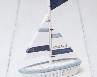 Personalised Wooden Sail Boat