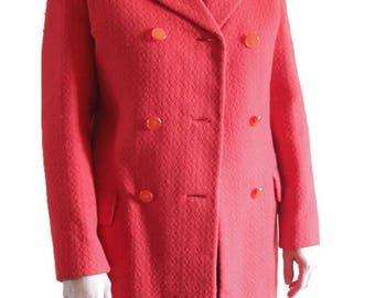 Red wool jacket Wool jacket vintage Vintage red blazer Red wool coat Wool coat vintage 1960s vintage dress Wool coat xs Red blazer women
