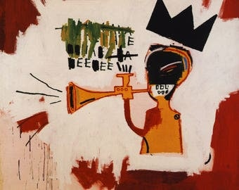 Trumpet 1983 by JEAN MICHEL BASQUIAT  - Reprod On Paper Archival210m or Canvas hdprint, Museum Gallery Stretched