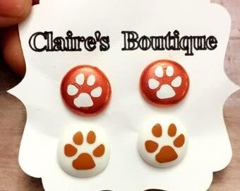 Coyote Pawprint Stud Earrings