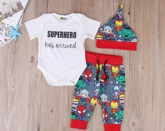 Pudcoco 2017 Hot 3PCS Newborn Infant Baby Boys Clothes Cartoon Tops Short Sleeves Romper +Pants Hat Outfits Set 0-18M MARVEL