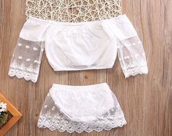 Sweet Baby Girl Clothing Set 2pcs Tops Long Sleeve Bottoms Cute White Outfits 2pcs Baby Girls Clothes 0-24M