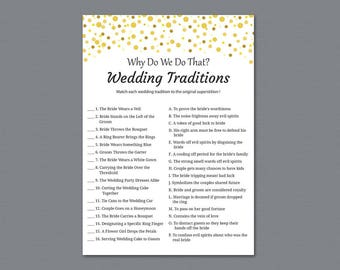 Wedding Traditions Guessing Game, Why Do We Do That, Guess The Wedding Tradition Game, Gold Dots Bridal Shower Game, Instant Download, A015