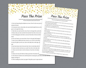 Pass the Prize Game, Pass the Gift, Pass the Parcel Rhyme Printable, Gold Confetti, Bridal Shower, Bachelorette, Wedding Shower Games, A015