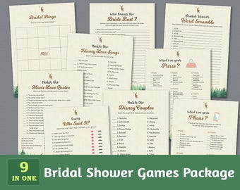 Fun Bridal Shower Games Package, Woodsy, Wedding Activity Printable, Forest Trees, Greenery, Unique Games Set, Shower Bundle, BSPKG, A010