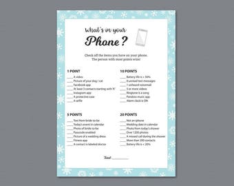 Winter Whats in your Phone Game Printable, Snowflakes, What's on Your Phone, Fall Bridal Shower Games, Instant Download, Bachelorette, A026