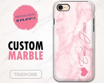 Personalised Custom Marble Phone Case for Apple iPhone 4/5/6/7 Plus SE Smartphone/Pink Signature/Personalized Tough Cover Name/Initial