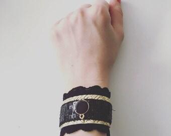 Unique cuff bracelet, black, cotton lace, gold, black connector