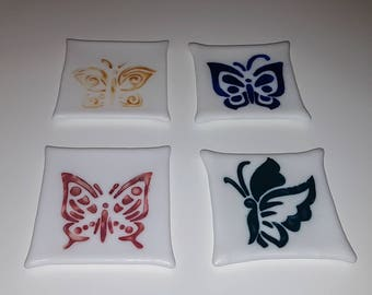 Butterfly Coasters - Handmade Set of 4 - Hand Painted