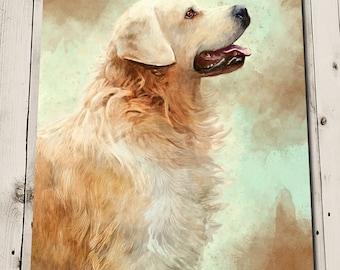Golden Retriever Art - Retriever Painting Print - Art for Dog Lovers - Dog Art Print - Pet Memorial - Pet Portrait - Pet Gift - Dog Painting