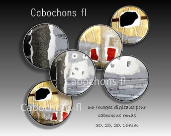 Digital images for round cabochons abstract art