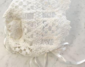 Crochet Lace baby christening baptism bonnet