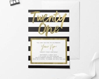 Gold Printable Birthday Invitation, Custom Printable Invitation, 30th Birthday, 21st Birthday, 18th Birthday, DIY Birthday Invitation, Black