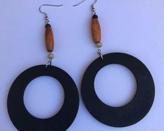 wooden hoop earirng