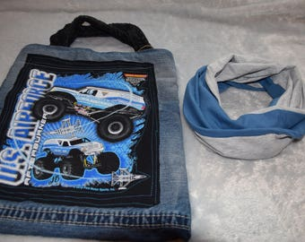 Christmas Value Gift Set for Boys Blue and Grey Eternity Scarf with Monster Truck Tote Bag Denim Size 6-10 years