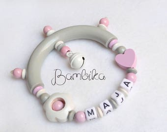 Personalized Rattle wooden rattle with name beaded toy baby girl gift wooden toy rattle teether with name baptism gift