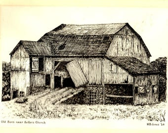 Old Barn near Keller's Church - print, 1964, M B Jones