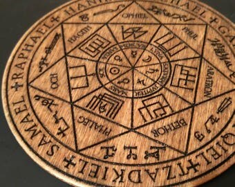 7 Arch Angels, Rustic Engraved sigil Wall Hanger Home Protection.