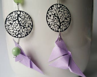 Pale purple origami butterflies earrings