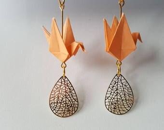 Crane origami earrings orange