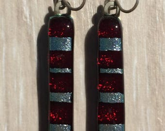 Dichroic Fused Glass Earrings - Red and Silver Striped Mosaic Earrings with Solid Sterling Ear Wires