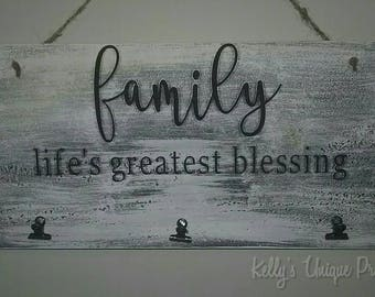 Family Life's Greatest Blessing Picture Sign Frame Family Wall Decor Home Decor Country Vintage Farmhouse Fixer Upper Style