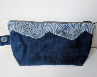 Hand Printed Waxed Toiletry Pouch: Blue Waves