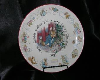 WEDGWOOD Beatrix Potter Peter Rabbit 1981 Christmas Plate