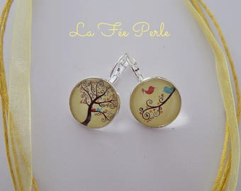 EARRINGS CABOCHON GLASS TREE AND BIRDS