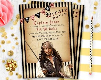 Pirates of the Caribbean Invitation Birthday card  Jack Sparrow birthday invitation invite