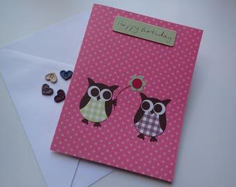 Handmade Owl Birthday Card - Handmade Greeting Card - Owl Birthday Card - Birthday Cards - Owl Greeting Card - Handmade Owl Card - Owl Cards