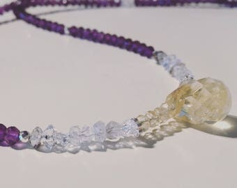 Amethyst Necklace Multicolour  Crystal Gemstone Necklace Purple and Yellow Beaded Necklace Herkimer Diamond February Birthstone Gift for her