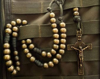 Olive Drab Military Rosary, Paracord Rosary, Soldier Rosary, Strong Rosary