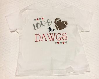 Love the Dawgs, Love the Dawgs shirt, Love the Dogs, Sports Onesie, Bulldogs onesie, bulldogs shirt, college football, football, sports