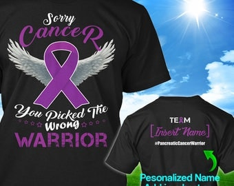 Personalized Pancreatic Cancer Awareness T-shirt Purple Ribbon Warrior Support Survivor Custom T-shirt Apparel Unisex Women Youth Kids Tee