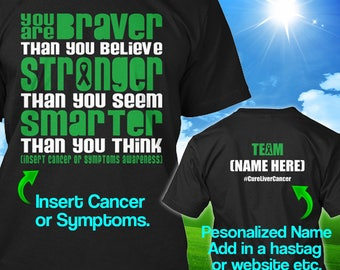 Personalized Liver Adrenal Cancer Awareness Tshirt Green Ribbon Braver Support Survivor Custom T-shirt Apparel Unisex Women Youth Kids Tee