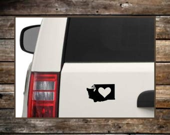 Washington State Love Decal / 12 Colors / Heart  Decals / Car Decals / Computer Decals / Window Decals
