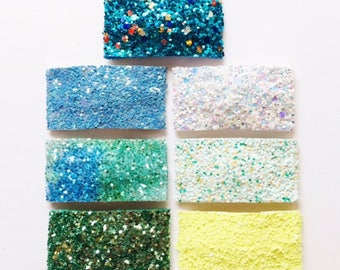 NEW GREEN BLUE and yellow glitter snap clips or alligator clips