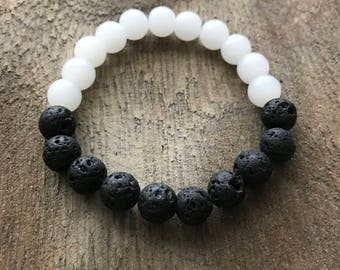 White Quartz & Lava Rock Bracelet