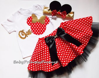 Minnie Mouse birthday outfit,Minnie Mouse birthday tutu outfit,Retro Polka Dot Dress,Red and White Tutu Outfit,Minnie Mouse tutu