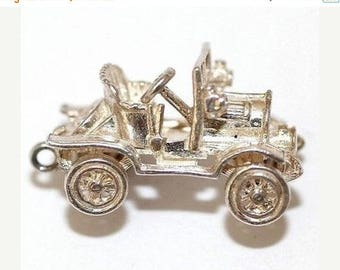 Vintage Sterling SIlver Bracelet Charm Large Moving Classic Car Detailed