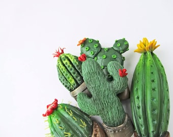 Cactus brooch Flower Polymer Clay Jewelry Green Brooch Botanical Jewelry badge Ethnic brooch tropical pin succulents brooch brooch in gift