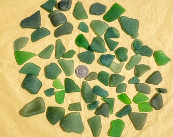 cottish Beachombed Sea Glass: Green Shades Worn Mixed Pieces for Crafts/Mosaics 250g