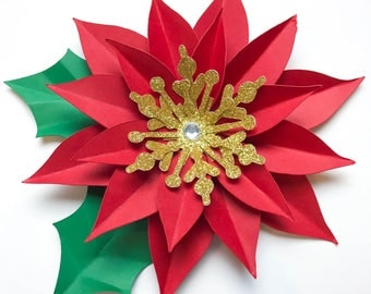 SVG/PNG Christmas Poinsettia Paper Flower Template- DIY Cricut and Silhouette machines ready-Center included