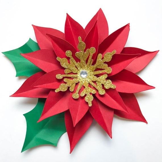 svg  png christmas poinsettia paper flower template diy cricut
